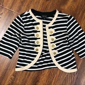 Topshop Striped Military Cardigan